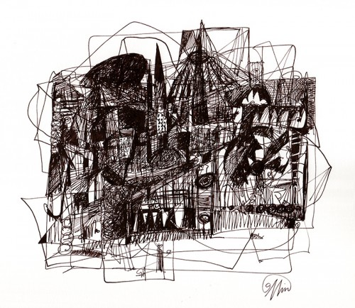 downtown – 7 x 8 inches on 14 x 17 inch 2-ply acid free Bristol.